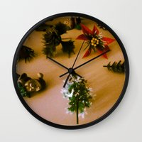 santa Wall Clocks featuring santa by gasponce