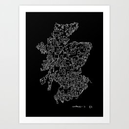 Scotland in one continuous line Art Print