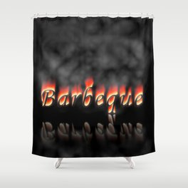 Barbeque Text On Fire Shower Curtain