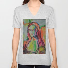 Mona Lisa Unisex V-Neck
