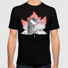 Canada Goose on Maple Leaf (with some red) MEDIUM Black Mens Fitted Tee