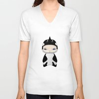 killer whale V-neck T-shirts featuring A Boy - Killer Whale by Christophe Chiozzi