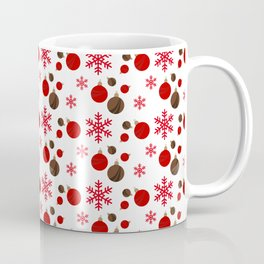 Christmas Ornaments in White and Red Coffee Mug