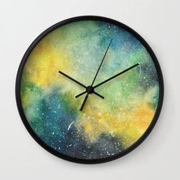 Yellow, green, and blue galaxy painting Wall Clock