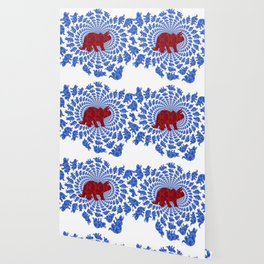 Dinosaur Fractal Print in Blue and Red Wallpaper