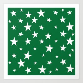 Hand-Drawn Stars (White & Olive Pattern) Art Print