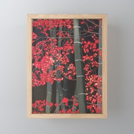 Bamboo and Fall Red leaves of Kyoto maple trees Framed Mini Art Print