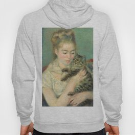 Woman with a Cat Oil Painting by Auguste Renoir Hoody
