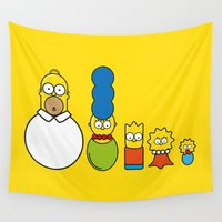 simpsons Wall Tapestries featuring the simpsons family by NHTT