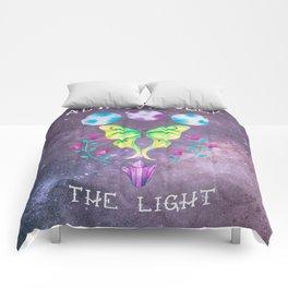 Always Seek the Light - Luna Moth Moon Crystals Boho Watercolor Comforters