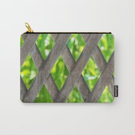 Metal material fence with green leafs at the background Carry-All Pouch