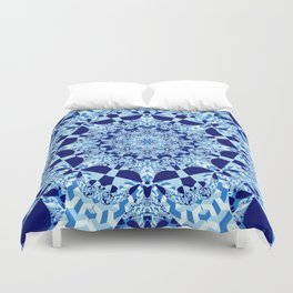 Blue toned cubism in a kaleidoscope Duvet Cover