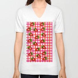 Gingham: Strawberry Flavor II Unisex V-Neck