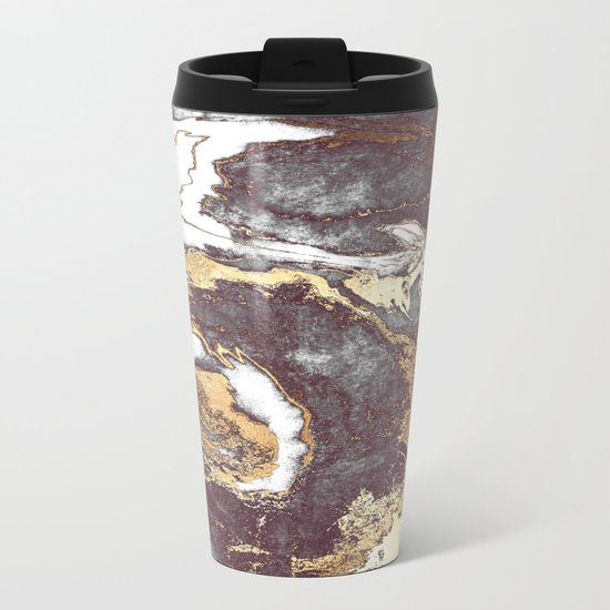 Black White Gold Metal Travel Mug