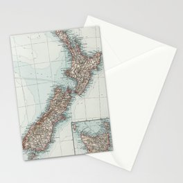 Vintage Map of New Zealand (1900) Stationery Cards
