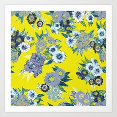 Floral pattern in Neon yellow Art Print