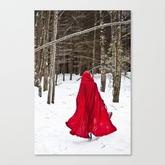 Little Red Riding Hood Runs Through The Woods In Winter Canvas Print