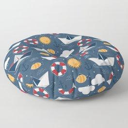 Paper Boats Children Pattern Floor Pillow