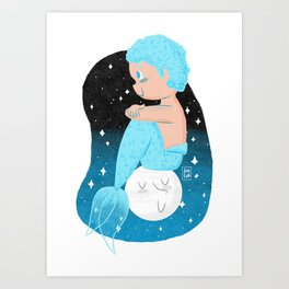 """Moon"" Mermaid Art Print"