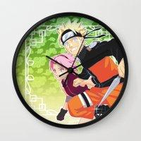 sasuke Wall Clocks featuring Naruto & Sakura by Neo Crystal Tokyo