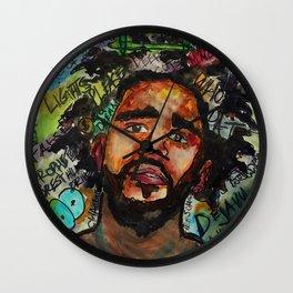 J cole,kod,album,music,rap,cole world,hiphop,rapper,masculine,cool,fan art,wall art,portrait,paint Wall Clock