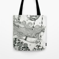 lake Tote Bags featuring East of Blue Lake by Judith Clay