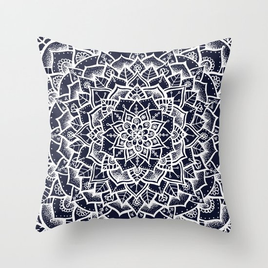 Midnight Blue Mandala Throw Pillow by Laurel Mae Society6