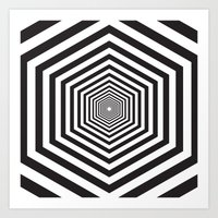 hexagon Art Prints featuring Hexagon by Vadeco