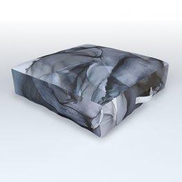 Calm but Dramatic Light Monochromatic Black & Grey Abstract Outdoor Floor Cushion