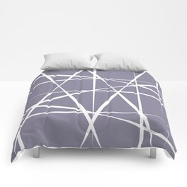 Muddy blue with abstract bone white lines Comforters