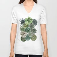 succulents V-neck T-shirts featuring An Assortment of Succulents by ECMazur