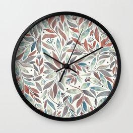 Leafy Blue Wall Clock