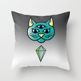 Mystic Kitty (in green) Throw Pillow