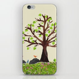 Spring Tree in Bloom with birds iPhone Skin