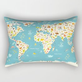 Animals world map. Beautiful cheerful colorful vector illustration for children and kids Rectangular Pillow