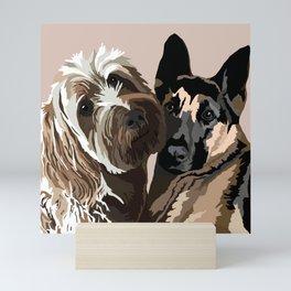 Scribbles the Golden Doodle and Pika the German Shepherd Mini Art Print
