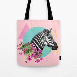 zebra and petunias Tote Bag