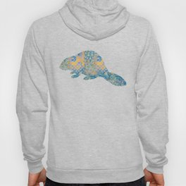 Beaver Vintage Floral Pattern Rustic Country Shabby Chic Blue Yellow Orange Grey Hoody