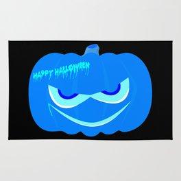 Evil Blue Halloween Pumpkin Rug