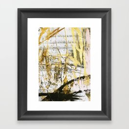 Armor [11]: a bold, elegant abstract mixed media piece in gold pink black and white Framed Art Print