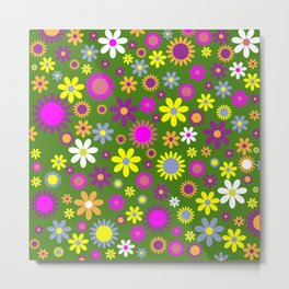 Multicolored Flower Garden Pattern Metal Print