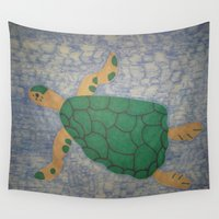 sea turtle Wall Tapestries featuring Sea Turtle by Danielle Gensler