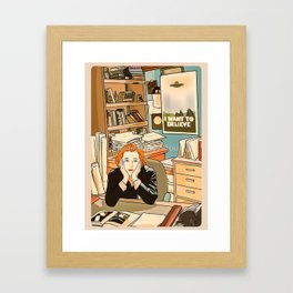 Dana Scully sit to the Fox Mulder's office Framed Art Print