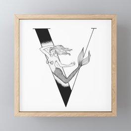 Mermaid Alphabet Series - V Framed Mini Art Print