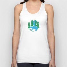 moon over bear in forest Unisex Tank Top
