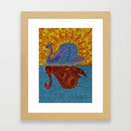 Mirrored Swan Colored Framed Art Print