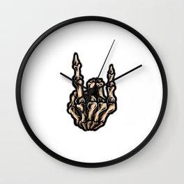 Rock Roll Hand Skull Wall Clock