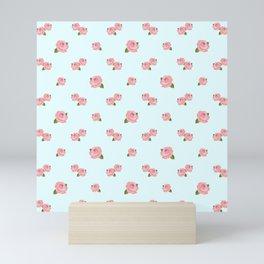 Pink Roses Repeat Pattern on Lt Blue Mini Art Print