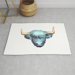 Blue Graphic Highland Cow Rug