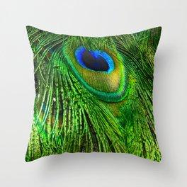 Peacock Glitter Throw Pillow